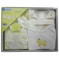 Bambini Baby Unisex Yellow T-Shirt Bodysuit Bib Cap Booties 5-Pc Gift Set - One size