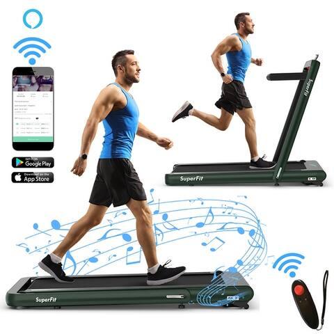SuperFit 4.75HP 2 In 1 Folding Treadmill W/Remote APP - 58'' x 31'' x 47''