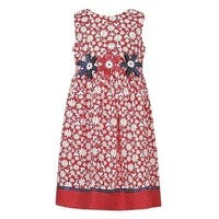 Richie House Girls Red Contrast Floral Print Dotted Bows Dress