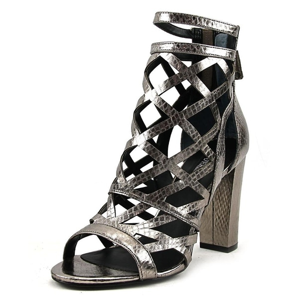 8b52f08edb9 Shop Guess Eriel 2 Women Pewter Sandals - Free Shipping On Orders ...
