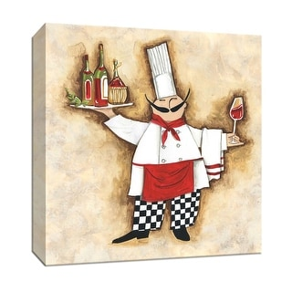 """PTM Images 9-151899  PTM Canvas Collection 12"""" x 12"""" - """"Vino Chef"""" Giclee Wine Art Print on Canvas"""