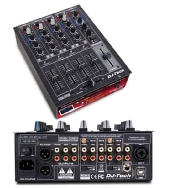 Professional Compact 4 Channel USB DJ Mixer with Multiple Photo