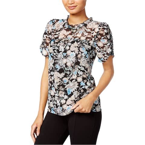 Kensie Womens Floral Knit Blouse