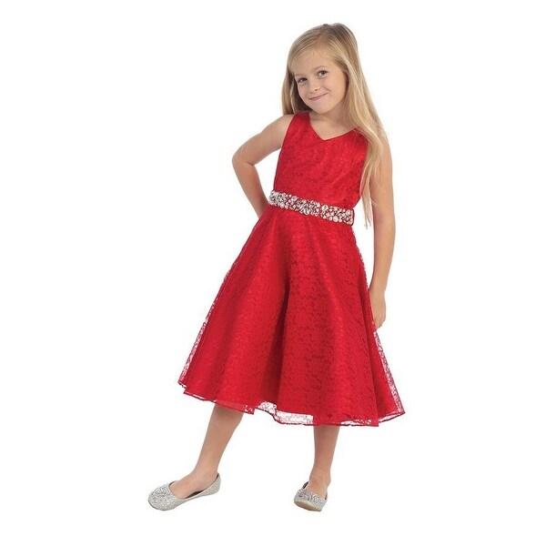 e7f2e7a8671 Shop Little Girls Red Lace Rhinestone Grosgrain Belt Flower Girl Dress 2T-6  - Free Shipping Today - Overstock.com - 18163300