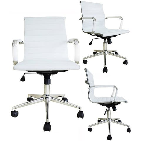 Executive Ergonomic Mid Back Office Chair Ribbed PU Leather Adjustable for Manager Conference Computer Desk White