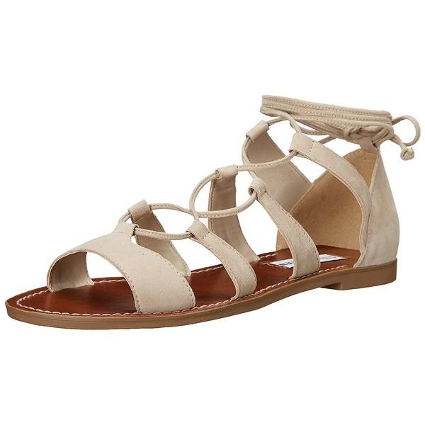 Steve Madden Womens Sanndee Leather Open Toe Casual Gladiator Sandals