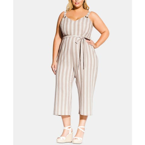City Chic Women's Trendy Plus Size Carmine Striped Cropped Jumpsuit White Size 20