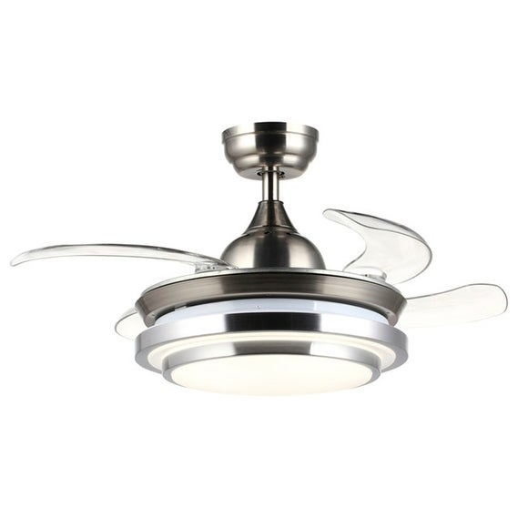 Modern 36 inch foldable 4 blades chrome led ceiling fan free modern 36 inch foldable 4 blades chrome led ceiling fan mozeypictures Gallery