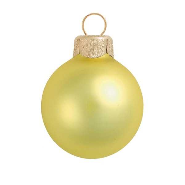 "6ct Matte Soft Yellow Glass Ball Christmas Ornaments 4"" (100mm)"