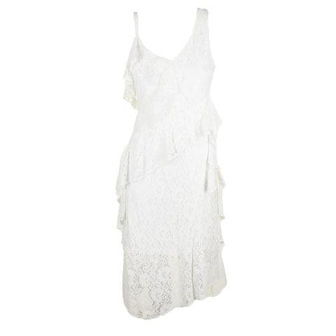 Taylor Whte Sleeveless Ruffled Lace Midi Sheath Dress 4