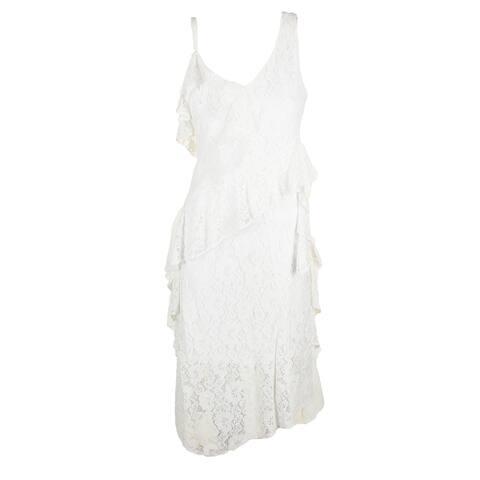 Taylor Whte Sleeveless Ruffled Lace Midi Sheath Dress 8