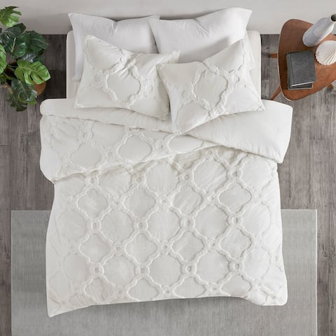Madison Park Nollie Tufted Cotton Chenille Geometric Duvet Cover Set