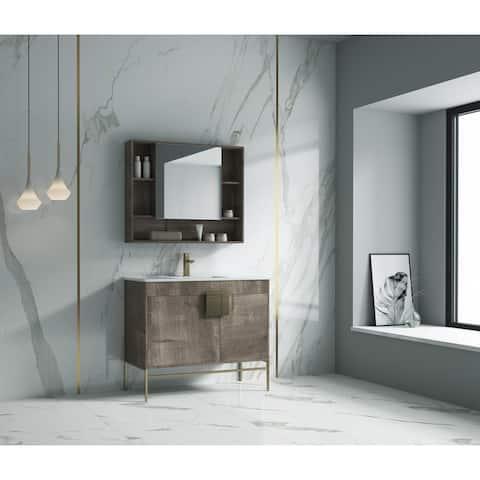 "Alma Bulanka 40"" Bathroom Vanity , Golden Brass Hardware"