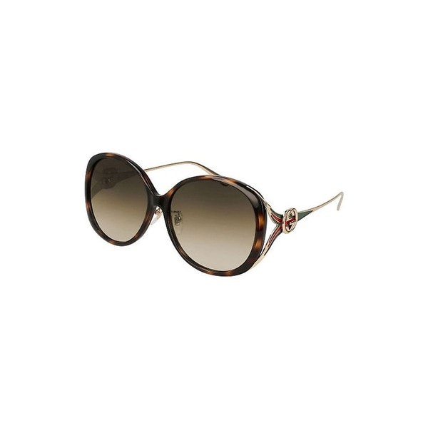 d6b89ff4c6 Shop Gucci Gg 0226 Sk- 003 Havana   Brown Gold Sunglasses -  havana-gold-brown - One size - Free Shipping Today - Overstock - 24266495