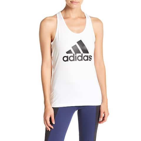 Adidas Womens Plus Stretch Logo Mesh Racerback Tank Top