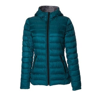Halifax Womens Teal Hooded Packable Coat Jacket Outerwear