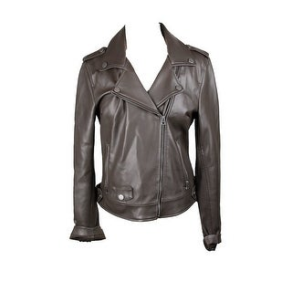 Lucky Brand Dark Brown Faux-Leather Moto Jacket M