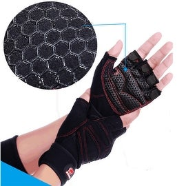 Weight Lifting Gym Gloves Training Fitness Antislip Wareproof Wrist Wrap Workout Exercise Gaming 3 Color In Pair Black XL