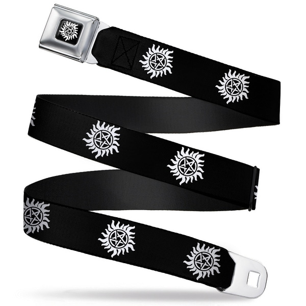 Winchester Logo Full Color Black White Winchester Pentagram Repeat Black Seatbelt Belt