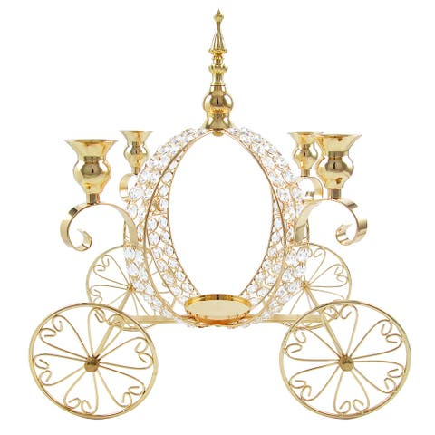 """Luxury Crystal Princess Pumpkin Carriage Decor Candle Holder 17in - 17"""" H x 15"""" W x 11.5"""" DP"""