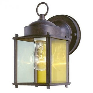 Westinghouse 66935 One-Light Exterior Square Wall Lantern, Sienna Brown Finish