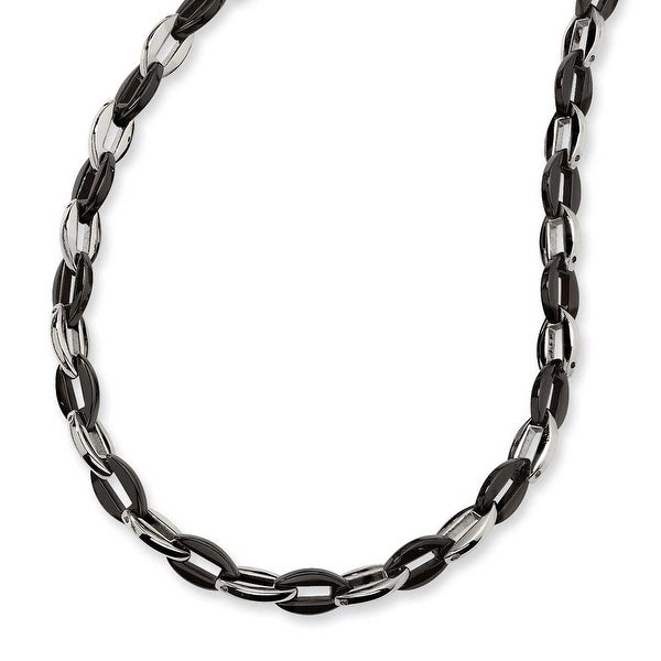 Chisel Stainless Steel and Black Color IP-plated Fancy Necklace (8 mm) - 24 in