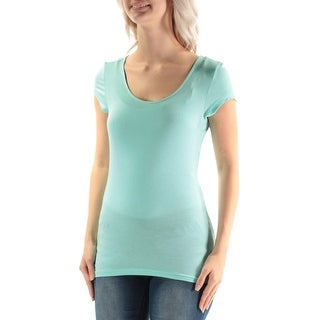ULTRA FLIRT $13 Womens New 3015 Blue Jewel Neck Cap Sleeve Top S Juniors B+B