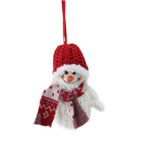 "5"" Smiling Fuzzy Snowman with Red Knit Hat and Scarf Christmas Figure Ornament"