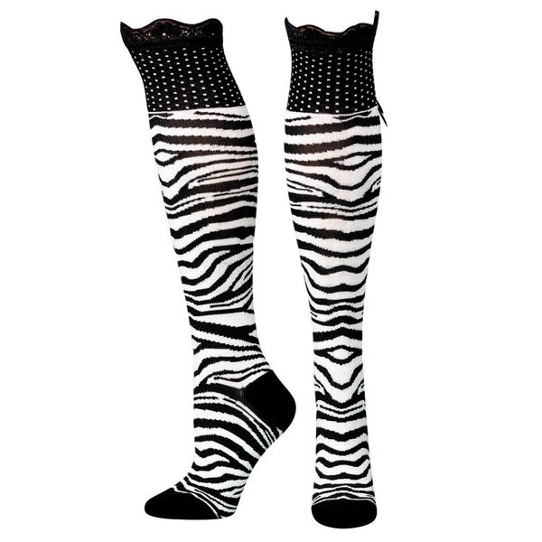 Blazin Roxx Socks Women Fashion Zebra Knee Ruffle Black White