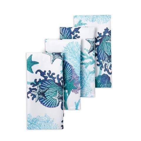 "Fiesta Coastal Coral Napkin Set, 19""x19"", White/Blue/Aqua, 4 Piece - 19""x19"""