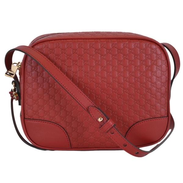 ce4fb66bde39 Gucci 449413 Red Leather Micro GG Guccissima BREE Crossbody Purse Bag -  8.5
