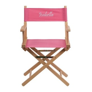 Offex Embroidered Standard Height Directors Chair in Pink
