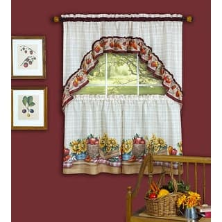 Farmers Market Tiers And Swag Kitchen Curtain Set 57x36 57x30