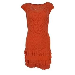 Jessica Simpson Women's Tiered Hem Scoop Back Lace Shift Dress