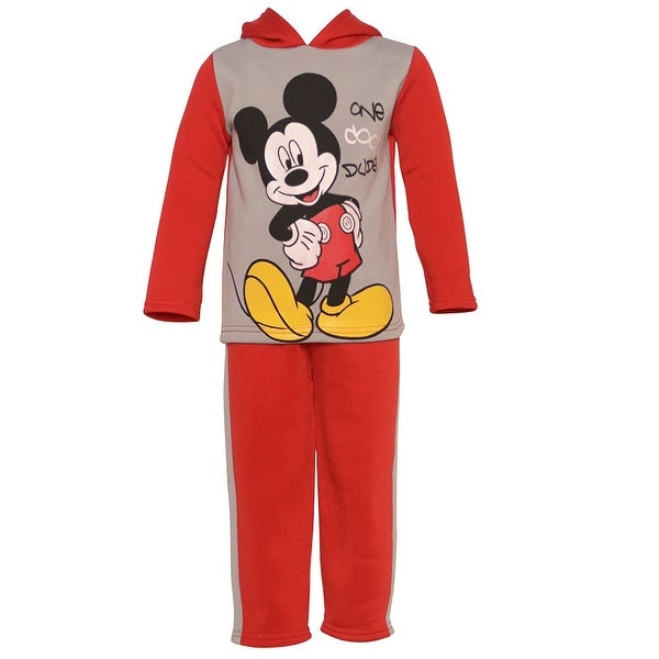 Disney Baby Boys Red Mickey Mouse Print Hooded Top Pants Outfit 12-24M