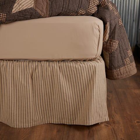 Farmhouse Star Ticking Stripe Bed Skirt