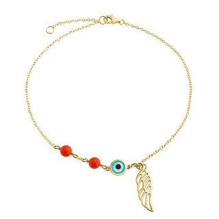 Gold Plated Synthetic Coral Evil Eye Anklet Angel Wing 9in