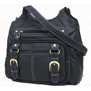 Concealed Carry Purse - Genuine Leather Locking Gun Bag Left & Right Draw, Black