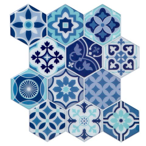 Simplify Peel & Stick Wall Tile 4 Pack in Moroccan Blues