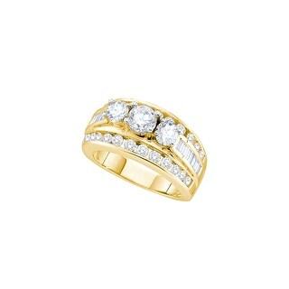 14k Yellow Gold Womens Natural Round Diamond 3-stone Bridal Wedding Engagement Ring 1.00 Cttw - White