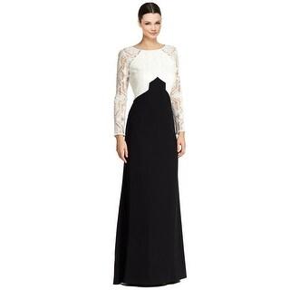 Tadashi Shoji Embroidered Colorblock Long Sleeve Formal Evening Gown Dress - 10