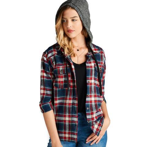 Simply Ravishing Women's Long Sleeve Detachable Hoodie Plaid Shirt