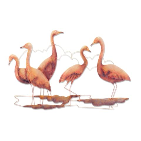Handmade Flamingos Wall Décor, Set of 5 (Philippines) - 1 x 22 x 15