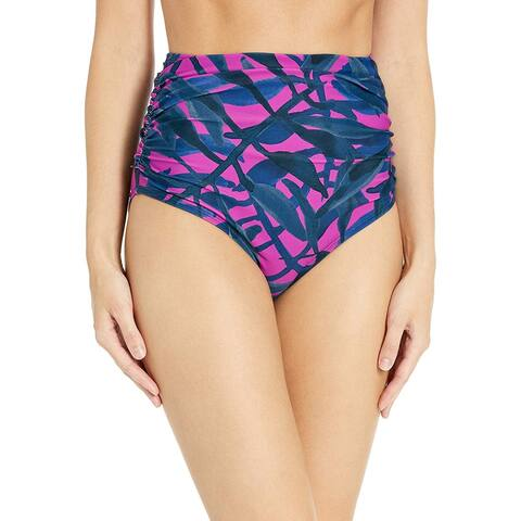 Brand - Coastal Blue Women's Swimwear Shirred High Waist Bikini Bottom, Very Fuchsia/New Navy Floral, L