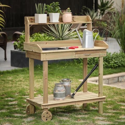 Mobile Wood Potting Bench