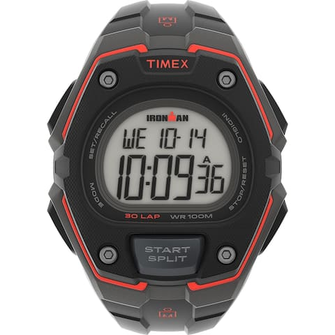 Timex Men's IRONMAN Classic 30 Oversized 45mm Resin Strap Watch - Dark Gray Case Black Top Ring with Black Resin Strap