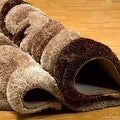AllStar Rugs Coco Shaggy Area Rug with 3D Brown Spiral Design. Contemporary Formal Casual Hand Tufted (5' x 7') - Thumbnail 2
