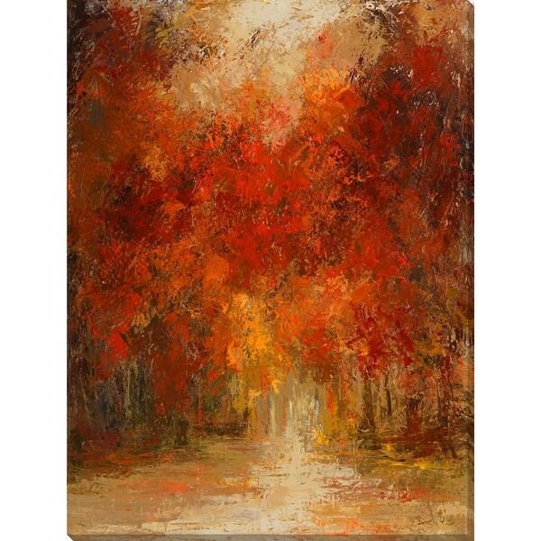 "Red and Orange Rectangular Canvas Wall Art Decor 28"" x 21"" - N/A"