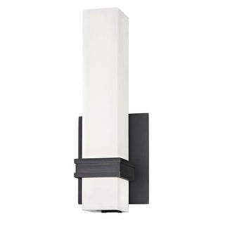 """Dolan Designs 11076 Integrated LED 13"""" Tall Single Light ADA Compliant Wall Sconce with Satin White Glass Rectangular Shade (Option: Burnished)"""