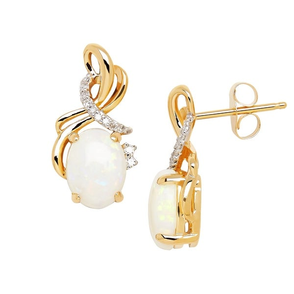 1 3/8 ct natural Opal Drop Earrings with Diamonds in 14K Gold